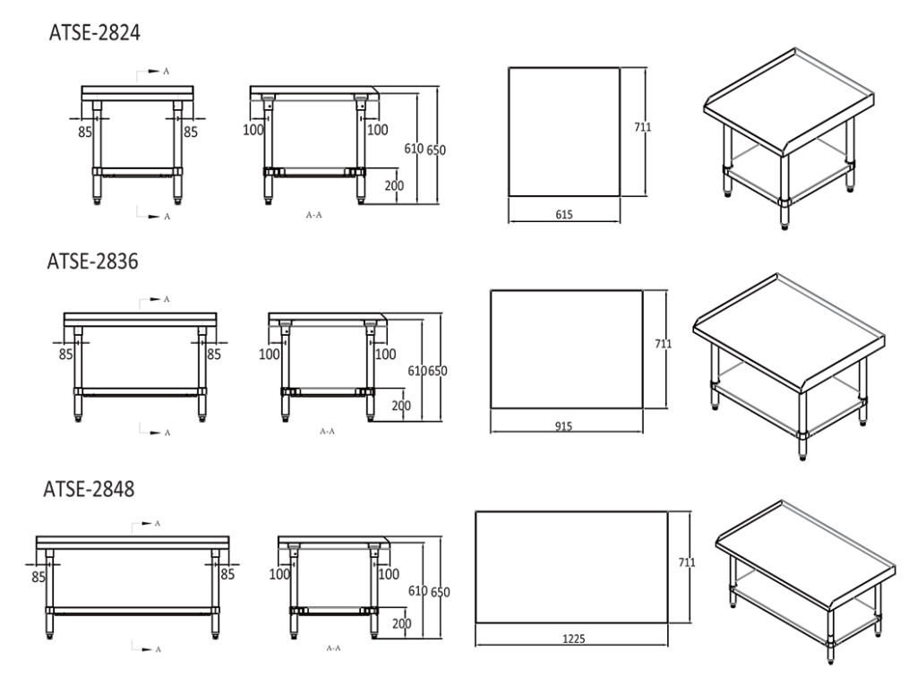 commercial stove stand Dimensions