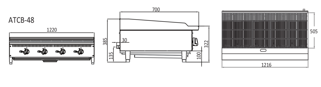 Large Char Grill - Technical drawings