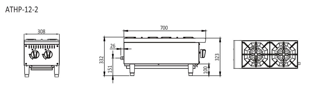 2 Burner stove top dimensions