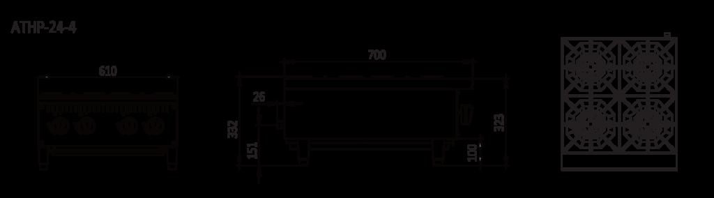 4 Burner stove top dimensions