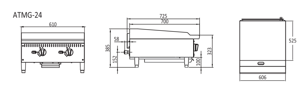 2 Burner Flat griddle - Technical dimensions