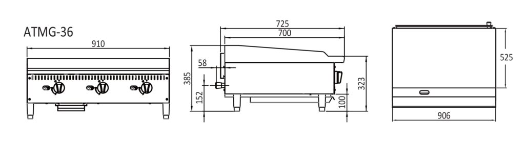 3 Burner cast iron flat griddle - Technical dimensions