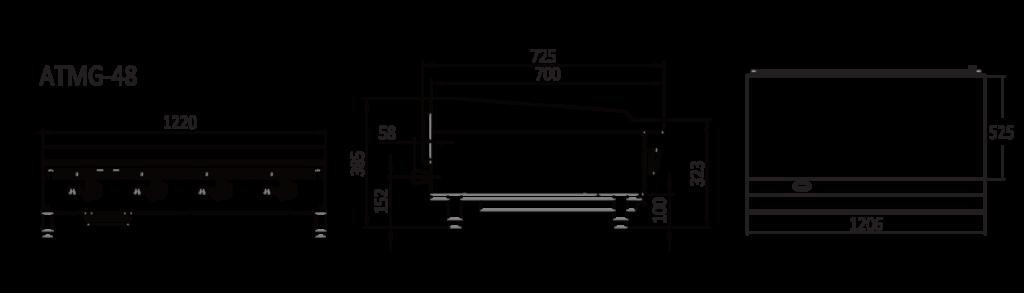 4 Burner cast iron griddle - Tech dimensions