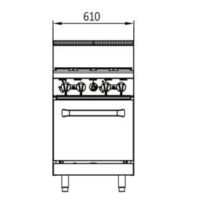 4 burner oven tech drawings - front