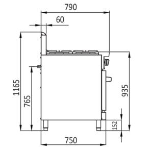 4 burner oven tech drawings - Side