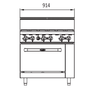 6 burner oven tech drawings - front