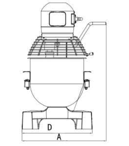 Tech drawing front 20L Planetary mixer
