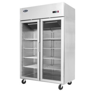 Atosa 2 glass door commercial fridge display on wheels
