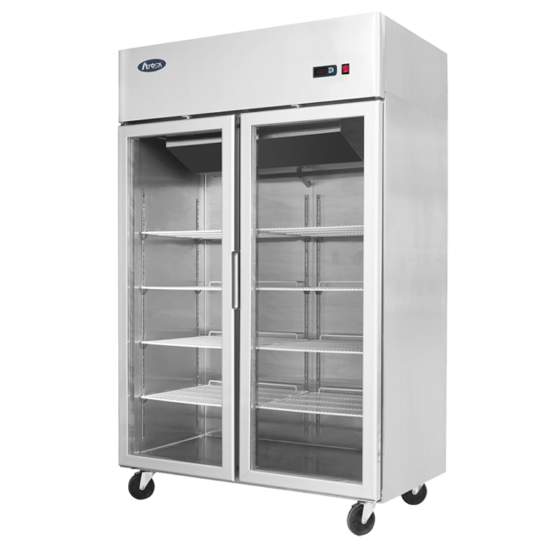 Atosa 2 glass door commercial fridge display on wheels