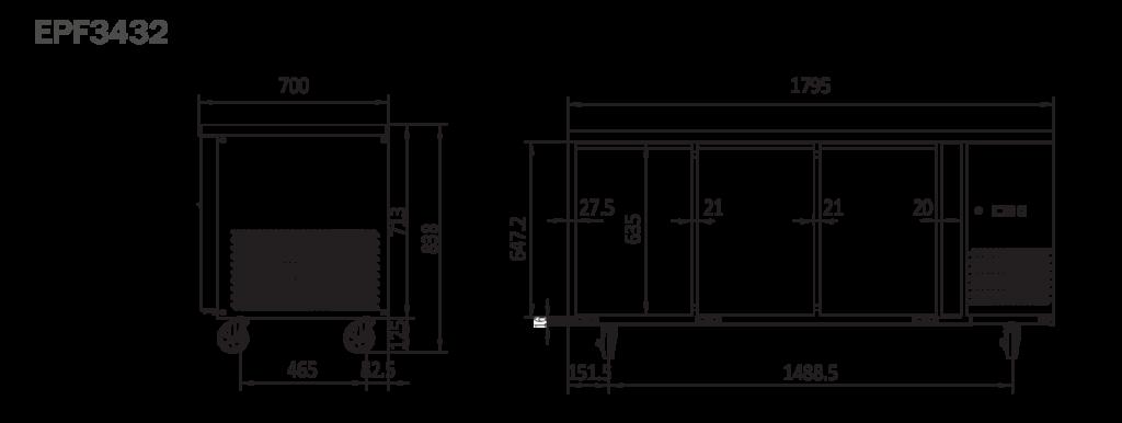 3 Door commercial fridge bench