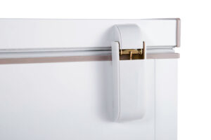 Closeup of chest freezer hinge