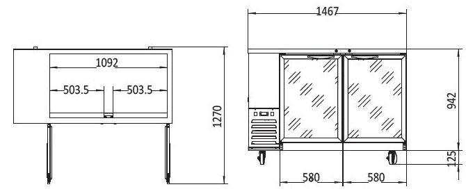 Atosa backbar fridge 2 door dimensions