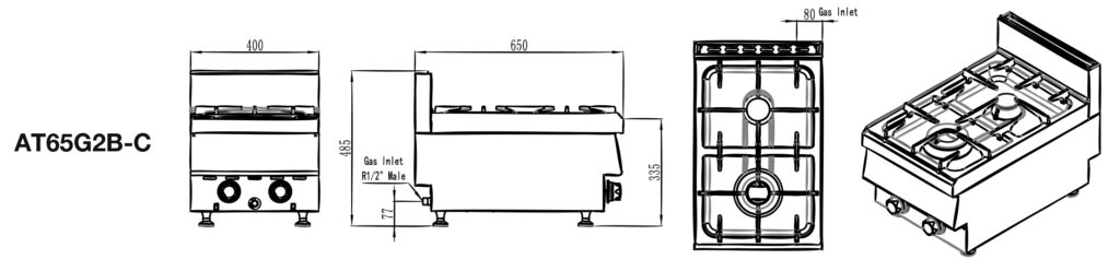 Commercial Benchtop Stove Size