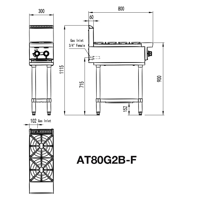 Commercial 2 Burner Stove Stand Size