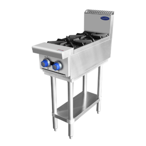 Commercial 2 Burner Cooktop on stand