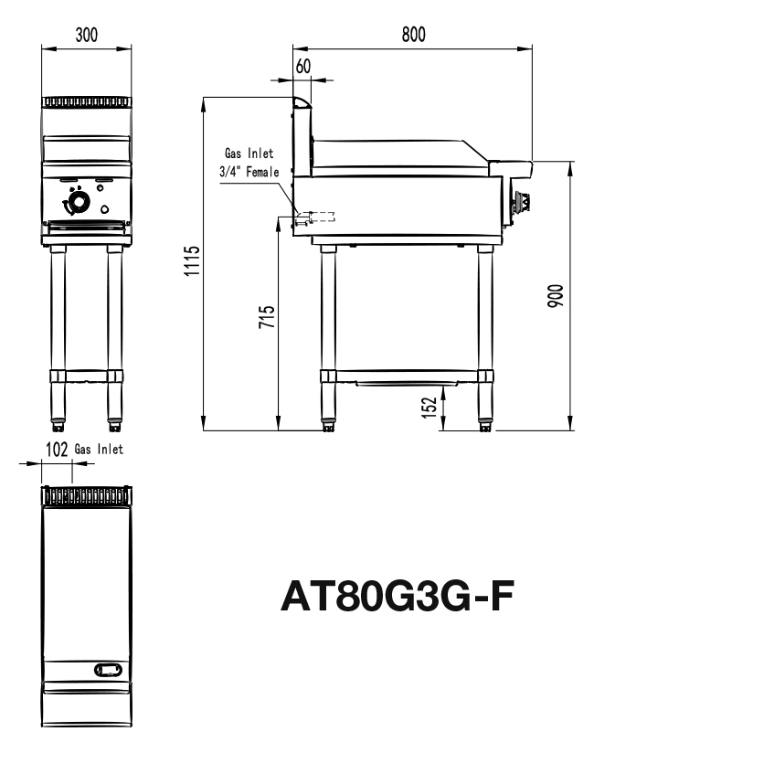 Commercial Flat Grill Stand Dimensions