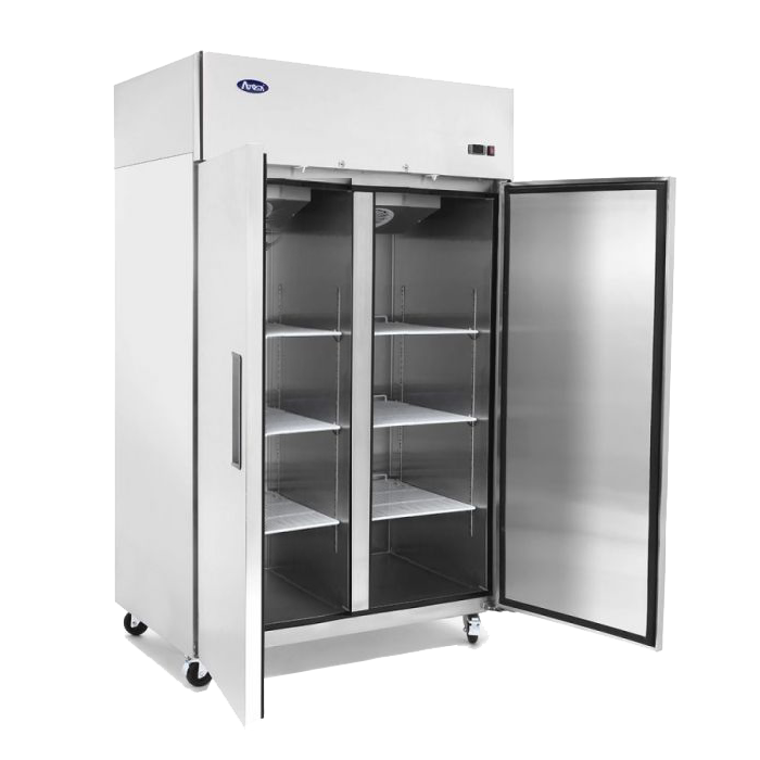 commercial upright combo fridge freezer with doors open
